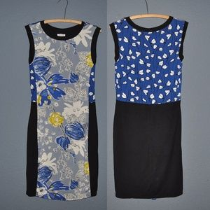Anthro WESTON Colorblock Floral Jersey Dress [F1]